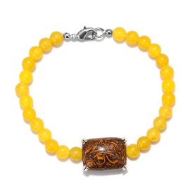 60.76 Ct Script Stone and Yellow Agate Beaded Bracelet in Platinum Plated 7.5 Inch