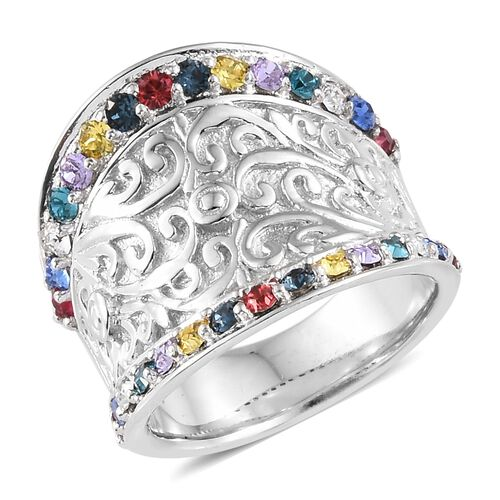 Crystal from Swarovski - Sapphire Colour Crystal, White and Multi Colour Crystal (Rnd) Ring in Plati