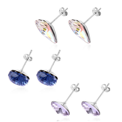 Set of 3 - Simulated Mercury Mystic Topaz, Simulated Blue Sapphire and Simulated Diamond Stud Earrings (with Push Back) in Sterling Silver