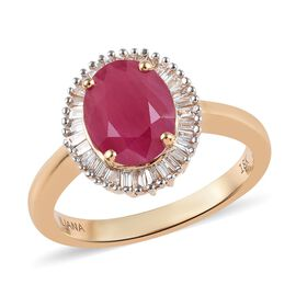 ILIANA 18K Yellow Gold AAAA Burmese Ruby (Ovl 9x7mm), Diamond (SI/G-H) Ring 2.50 Ct.