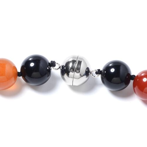 One Time Deal - Multi Agate (Rnd) Necklace (Size 20) in Rhodium Overlay Sterling Silver 585.000 Ct