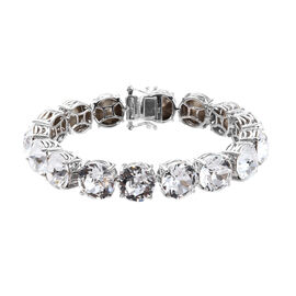 J Francis White Crystal from Swarovski Tennis Bracelet in Platinum Plated 7.5 Inch