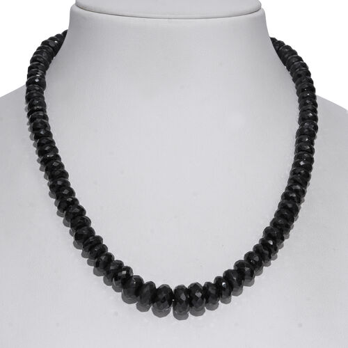 Boi Ploi Black Spinel (Rnd) Graduated Beads Necklace in Rhodium Overlay Sterling Silver 4.750  Ct.