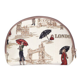 Signare Tapestry - Miss London Big Cosmetic Bag (24.5x16x7 Cm) - Cream