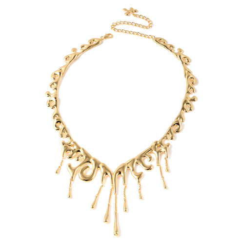 LucyQ Couture Drip Collection - Yellow Gold Overlay Sterling Silver Adjustable Filigree Necklace (Si