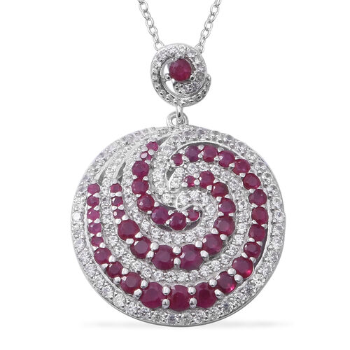 Burmese Ruby (Rnd), Natural Cambodian White Zircon Spiral Galaxy Pendant With Chain in Rhodium Overl