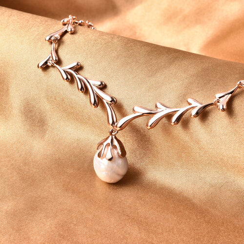 LucyQ Pearl Collection-  Freshwater White Baroque Pearl Drip Design Necklace (Size 20) in Rose Gold Overlay Sterling Silver, Silver wt 28.76 Gms