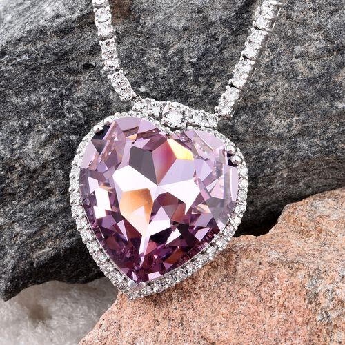 J Francis Crystal From Swarovski - Light Amethyst Colour Crystal (Hrt 20 mm), White Crystal Necklace (Size 20) in Platinum Overlay Sterling Silver Silver wt 28.08 Gms. Number of Crystals 223