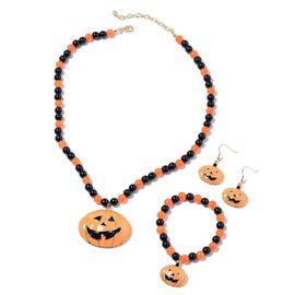 3 Piece Set - Simulated Black Spinel, Simulated Orange Sapphire Enamelled Halloween Pumpkin Charm Be