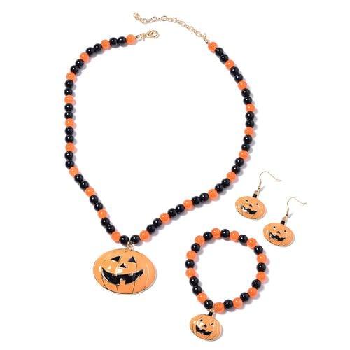 3 Piece Set - Simulated Black Spinel, Simulated Orange Sapphire Enamelled Pumpkin Charm Beads Neckla