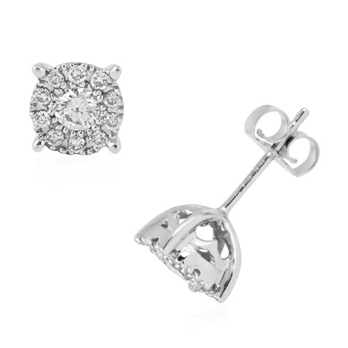 New York Close Out- 14K White Gold Diamond (Center Rnd 0.25 Ct) (I1-I2) Earrings 0.500 Ct.