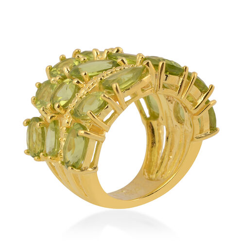 Hebei Peridot Cluster Ring in Yellow Gold Overlay Sterling Silver 12.00 Ct, Silver wt 9.00 Gms