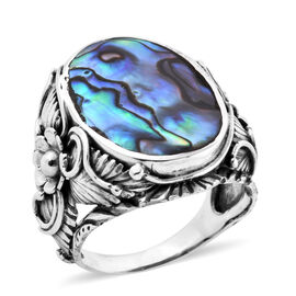 Royal Bali Collection Abalone Shell Floral Ring in Oxidised Sterling Silver, Silver wt 9.61 Gms.