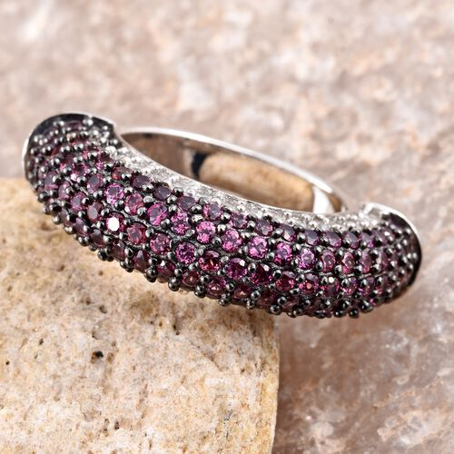 Designer Inspired-Rhodolite Garnet (Rnd), Natural Cambodian Zircon Ring in Black Rhodium and Platinum Overlay Sterling Silver 2.750 Ct. Gemstone Studded 141 Pcs, Silver wt 7.01 Gms.