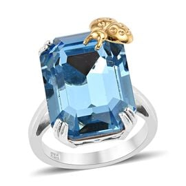 J Francis - Crystal from Swarovski Aquamarine Colour Crystal (Oct 18x13 mm) Ladybird Ring in Platinu