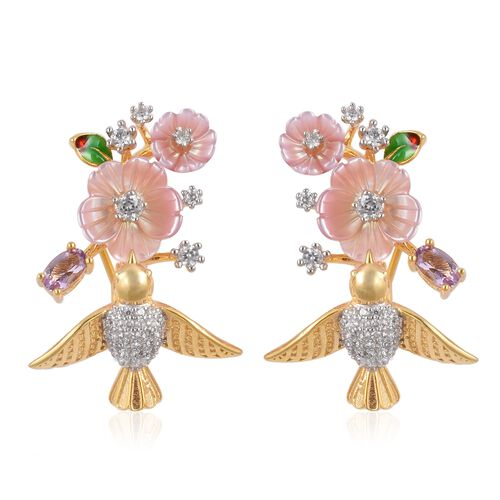 Jardin Collection 4.54 Ct Pink Mother of Pearl and Multi Gemstones Hummingbirds Earring in Gold Plat