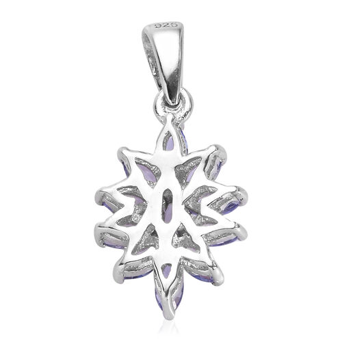 Tanzanite Pendant in  Platinum Overlay Sterling Silver