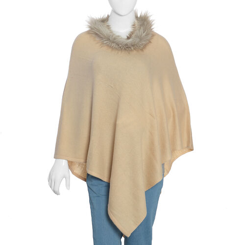 100% Pashmina Wool Beige Poncho (Size 70x70 Cm)