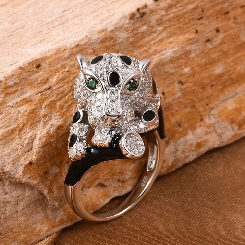 J Francis - Rhodium Overlay Sterling Silver Enamelled Panther Ring Made with Green and White SWAROVSKI ZIRCONIA 3.94 Ct.