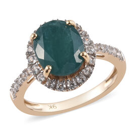 9K Yellow Gold AAA Grandidierite (Ovl 10x8mm), Natural Cambodian Zircon Ring 3.10 Ct.