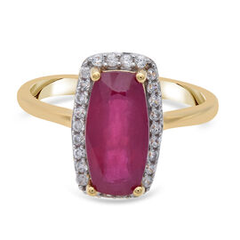 African Ruby and Natural Cambodian Zircon Ring in 14K Gold Overlay Sterling Silver 4.00 Ct.