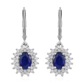 2.50 Carat Blue Spinel and Cambodian Zircon Halo Drop Earrings in Sterling Silver With Lever Back