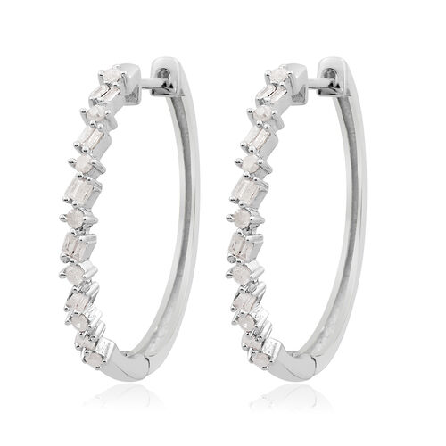 Diamond (Rnd and Bgt) Hoop Earrings (with Clasp) in Platinum Overlay Sterling Silver 0.500 Ct.
