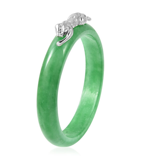Green Jade Leopard Bangle (Size 7.5) in Rhodium Overlay Sterling Silver 264.25 Ct.