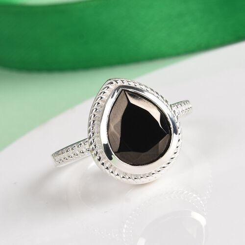 Elite Shungite Magnetic Solitaire Ring in Sterling Silver 1.75 Ct, Silver wt 5.57 Gms