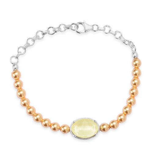 J Francis - Crystal from Swarovski Yellow Colour Crystal and Light Gold Pearl Crystal Bracelet (Size
