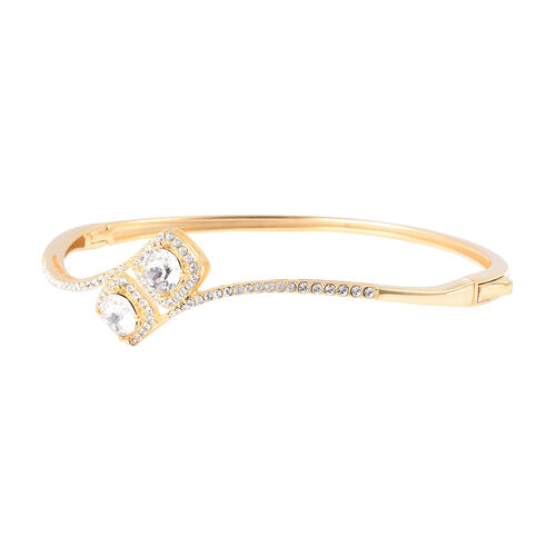 J Francis- Crystal from Swarovski White Crystal (Rnd) Bypass Bangle (Size 7.5) in Yellow Gold Plated Sterling Silver, Silver wt 12.00 Gms
