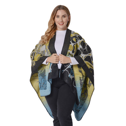 Abstract Floral Print Ruana with Border (Size 130x70 Cm) - Black, Blue & Yellow