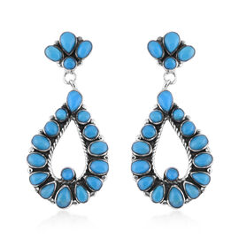 Santa Fe Collection - Turquoise Earrings (with Push Back) in Sterling Silver 2.00 Ct, Silver Wt. 5.7
