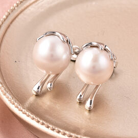 Edison Pearl Earrings (with Push Back) in Rhodium Overlay Sterling Silver