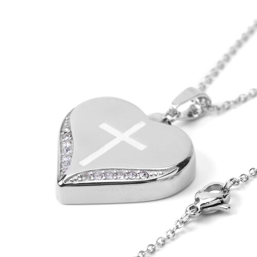 Simulated Crystal Enameled Pendant with Chain (Size 20) in Stainless Steel