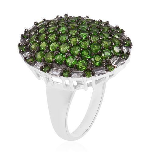 Designer Inspired- Russian Diopside and Natural White Cambodian Zircon Cluster Ring in Black Rhodium Plated Sterling Silver 4.00 Ct. Silver wt 6.04 Gms.