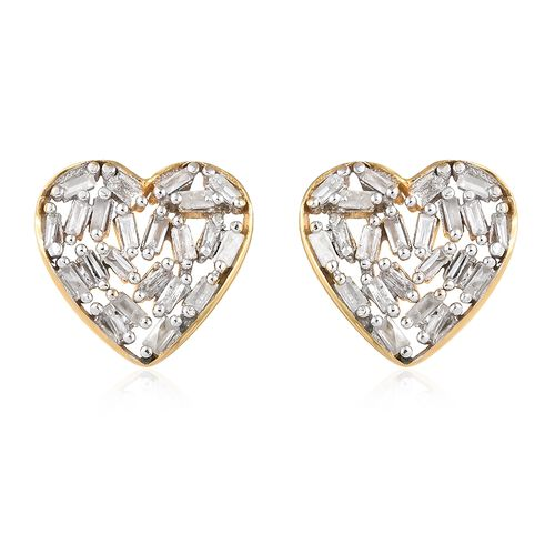 Diamond (Bgt) Earrings (with Push Back) in 14K Gold Overlay Sterling Silver  0.330 Ct