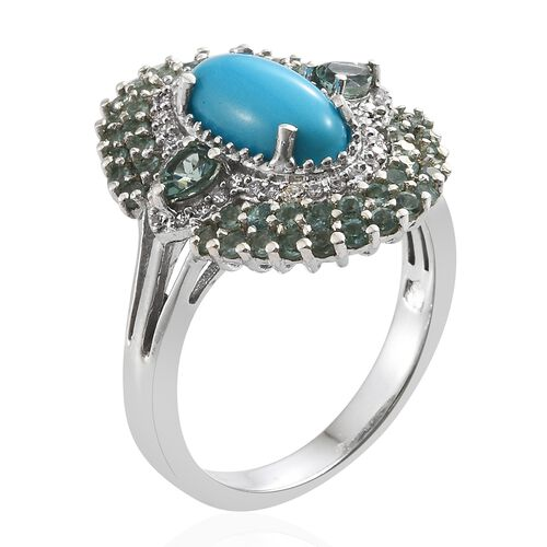 Arizona Sleeping Beauty Turquoise (Ovl 1.90 Ct), Ocean Blue Apatite and Natural Cambodian Zircon Cluster Ring in Platinum Overlay Sterling Silver 3.500 Ct. Silver wt 6.06 Gms.
