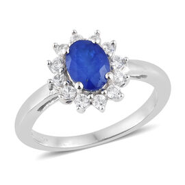 Designer Inspired Very Rare Blue Spinel (Ovl), Natural White Cambodian Zircon Ring in Platinum Overlay Sterling Silver 1.250 Ct