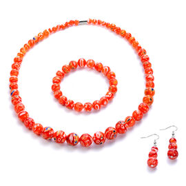 3 Piece Set -  Red Murano Style  Glass Necklace (Size 20 with Magnetic Lock), Stretchable Bracelet (