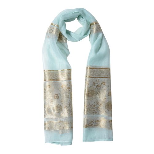 Mint Green Colour and Golden Stripe Plum Blossom Pattern Scarf (Size 180x70 Cm)