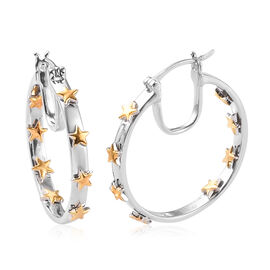 Sundays Child - Platinum and Yellow Gold Overlay Sterling Silver In Out Star Design Hoop Earrings (w