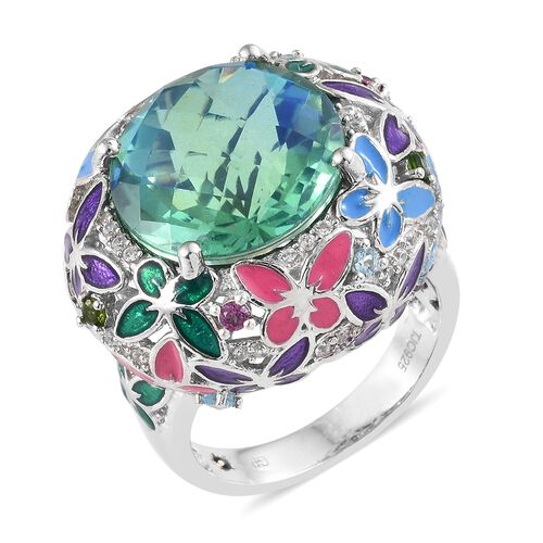 GP 15.25 Ct Peacock Quartz and Multi Gemstone Butterfly Cluster Ring in Platinum Plated Silver