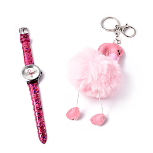 2 Piece Set - STRADA Japanese Movement Flamingo Pattern Water Resistant Watch with Pink Strap and Fl