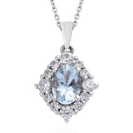 Espirito Santo Aquamarine (Ovl 1.10 Cts), Natural Cambodian Zircon Pendant With Chain (Size 20) in Platinum Overlay Sterling Silver 2.000 Ct.