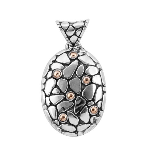 Bali Legacy Collection 18K Yellow Gold and Sterling Silver Pebble Pendant, Metal wt 8.09 Gms.