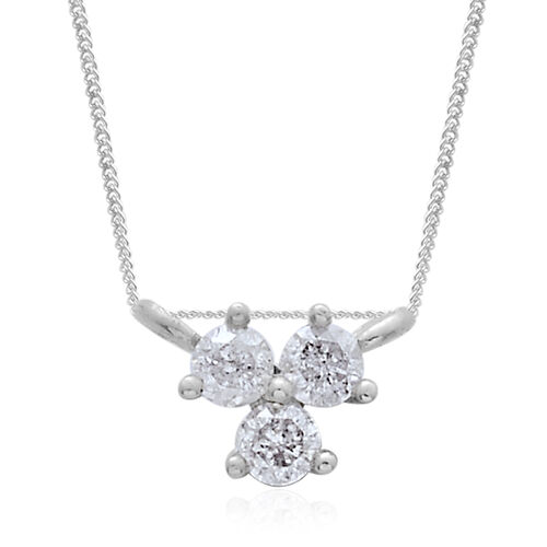 9K White Gold 0.10 Ct Diamond Trilogy Necklace (Size 18) SGL Certified I3 G-H