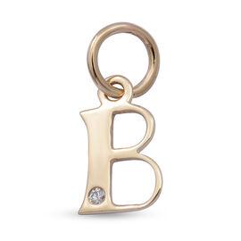 9K Yellow Gold Diamond Initial B Pendant