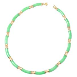 Green Jade Necklace (Size 18) in Yellow Gold Overlay Sterling Silver
