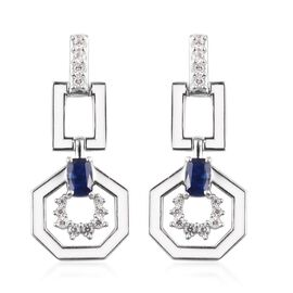 Masoala Sapphire and Natural Cambodian Zircon Enamelled Earrings (with Push Back) in Platinum Overla